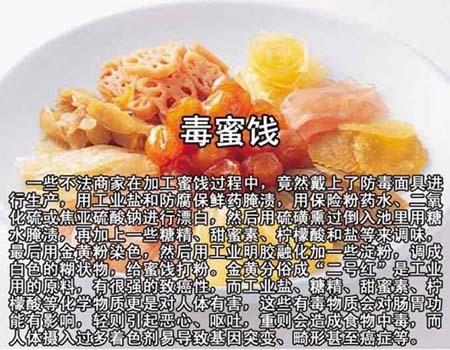 中国有毒食品大全,毒蜜饯